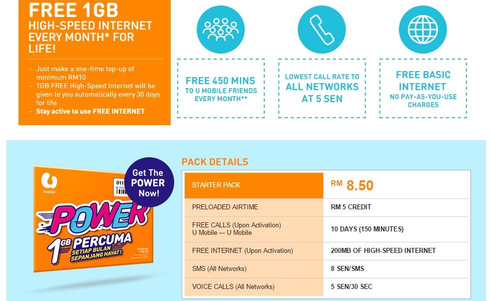 U Mobile POWER Prepaid Pack - 2